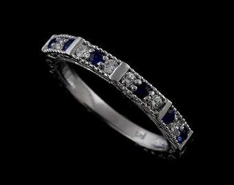 Prong Set Diamonds And Sapphire Engraved 14K White Gold Art Deco Reproduction Wedding Band 2.8mm Wide