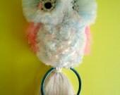 Vintage 1980 Pattern Cotton Candy Macrame Owl Towel Holder