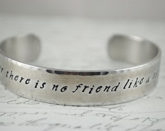 For There is no Friend Like A Sister Secret Message Hand Stamped Bracelet- Personalized Bracelet