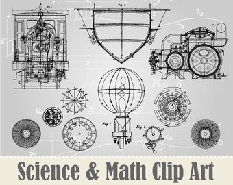 NEW 15 Vintage Science & Math  Drawings Clip Art Collection - 100% Scalable Vector Art