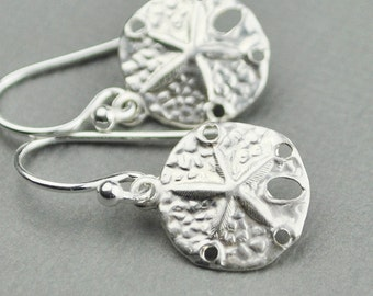 Sand Dollar Earrings - Sterling Silver Drop Earrings - Dangle Earrings - Nautical Jewelry - Beach Jewelry - Nautical Earrings