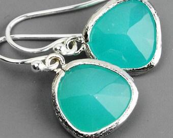 Turquoise Blue Earrings - Glass Drop Earrings - Silver Dangle Earrings - Bridesmaid Earrings - Sterling Silver Ear Wires