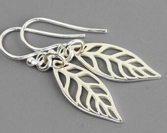Sterling Silver Leaf Earrings - Dangle Earrings - Leaf Jewelry - Silver Drop Earrings - Sterling Silver Jewelry Handmade