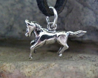 Running Horse Charm Sterling Silver Animal Totem 21mm x 14mm