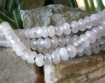 Rose Quartz Big Hole Beads Smooth 8mm Rondelles 36 Beads Fit Leather