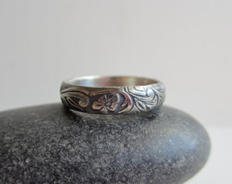 Floral Leaves Sterling Silver Band - Vintage - Romantic