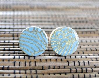 Aqua Ear Studs, Aqua Earrings, Waves pattern, Japanese PAper, Chiyogami, Wood studs, Gift under 10, wood earrings