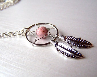 Silver Dream Catcher Necklace Pink Dreamcatcher Jewelry