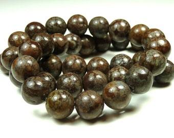 6mm Brown Snowflake Jasper Natural Gemstone Beads - 16 Inch Strand - Round, Opaque - BC32