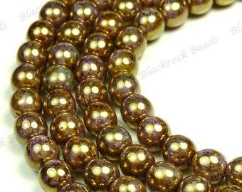3mm Opaque Gold Smoky Topaz and Light Purple Luster Czech Glass Beads - 100pc Strand - Round, Druk - BD37