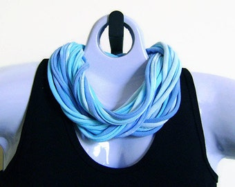 FABRIC NECKLACE, Tie Dye, Aqua and Lavender, Upcycled T-shirt Fabric, Handmade, Ready to Ship