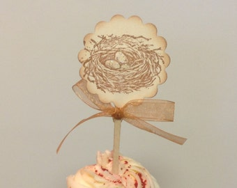Bird nest cupcake toppers- wedding cupcake toppers- Bird cupcake picks- set of 12
