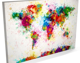 World map multi color canvas wall art large wall art canvas paint splashes map of the world map canvas art print 168 gumiabroncs Images