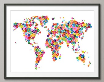 Flowers Map of the World Map Art Print (179)