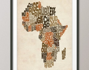 Typography Map of Africa Map, Text Art Print (106)