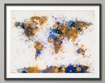 Paint Splashes Map of the World Map, Art Print (154)