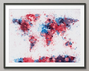Paint Splashes Map of the World Map, Art Print (148)