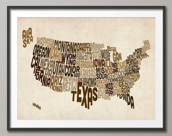 United States Typography Text Map, Art Print (195)