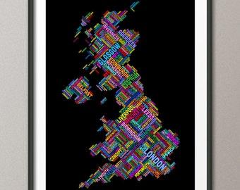 Great Britain UK City Text Map, Art Print (306)