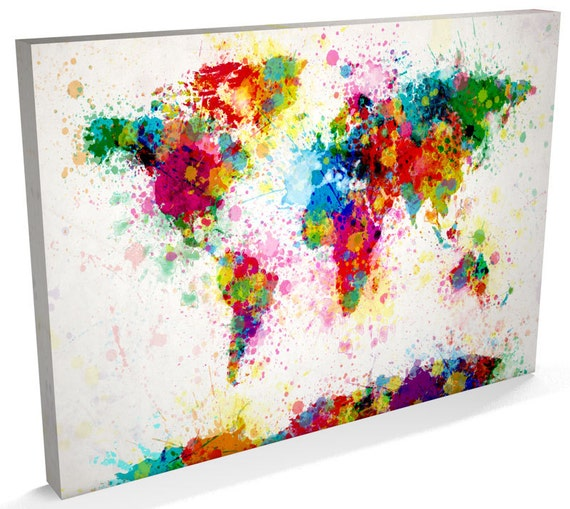 paint splashes map of the world map canvas art print 168