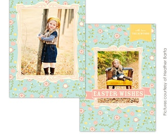 INSTANT DOWNLOAD - Easter Photocard - Photoshop Template - E727
