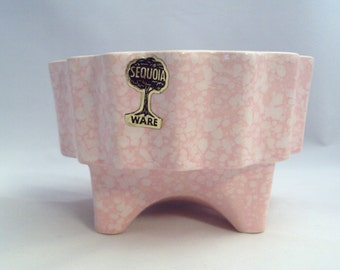Vintage American Bisque Pottery Sequoia Ware Pink Spatter Planter