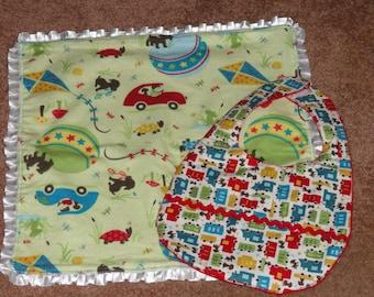 Minky Baby Blanket and Bib Set