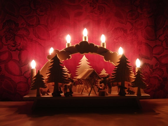 Handmade german christmas decoration candle arch wood for Arch candle christmas decoration