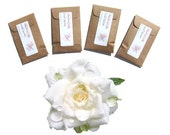 Gardenia Scented Sachets Flower Home Fragrance Hostess Gift for her Air Freshener Floral Wedding Favors Brown Drawer Envelope Sachets Rustic