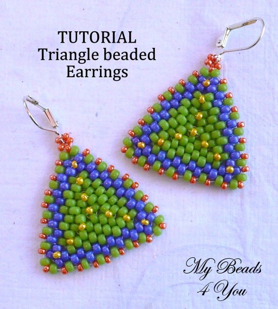 Beadwoven Tutorial, Beaded Earring Tutorial, Seed Bead Tutorial, PDF Beaded Earring Pattern, Seed Bead Pattern,Triangle Earrings, Beadwork