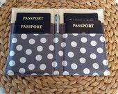 Family Passport Holder, Chevron Passport Cover, Holds 4 Passports, International Travel, Gray Chevron Polka Dot Lining, Travel Accessory