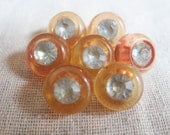 Vintage rhinestone buttons, honey orange gold, shank buttons, set of 7