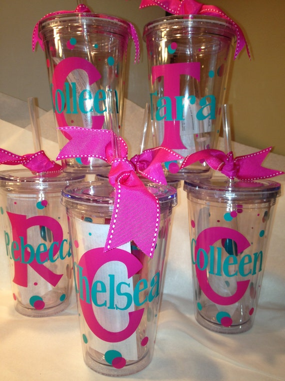 Items similar to Personalized Decorated Tumblers w/Straw BPA Free Bacherlorette, Birthday, CHeer