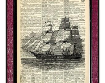 SHIP 2 Wall Decor Nautical Art Ship Poster Vintage Ship Print Wall Hanging Gift For Him Nautical Print Sailboat Wall Art Nautical Decor