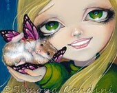 Best Faery friend LIMITED EDITION Hand Embellished CANVAS Print Simona Candini Fantasy Fairy hamster cute Ready  to Hang