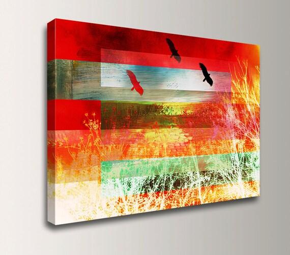 "Nature Art - Digital Art - Red Wall Art - Canvas Print Wall Decor - ""Rise"""