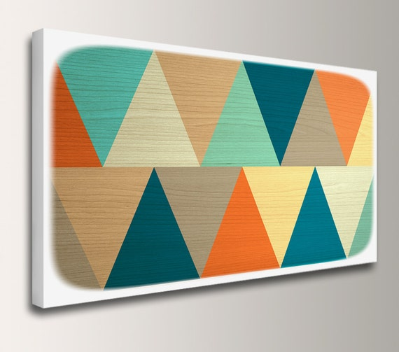 "Mid Century Modern - Canvas Print Panorama - Teal & Orange - Geometric Art  - Modern Wall Decor  - ""Apex"""