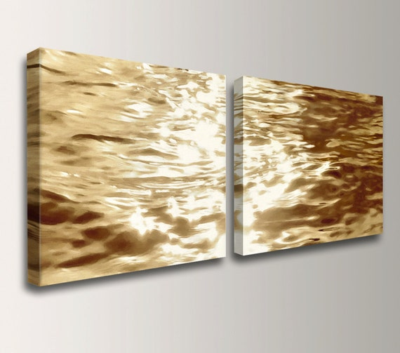 Beach art canvas print gold water reflections wall decor for Gold wall paint uk