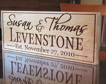 Family Name Sign, Family Established Sign, Personalized Wedding Sign, Wedding Sign, Last Name Sign, Benchmark Custom Signs Cherry LH