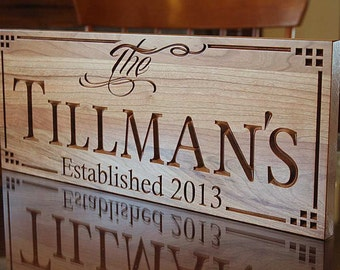 Last Name Sign, Wedding Date Sign, Family Established Sign, Carved Wooden Sign, Personalized Sign, Benchmark Custom Signs Cherry LL