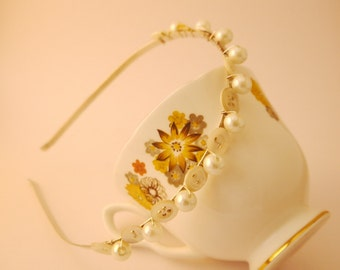 Elegant Mother of Pearl Bridal Bridesmaid Hairband Tiara