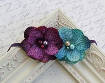 Purple and Teal  flower headband, baby headband, newborn headband, photography prop, hydrangea headbands, purple headbands