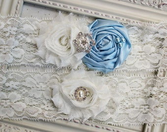 Light blue Satin and Lace Bridal Garter Set, bridal garters, ivory garters, wedding garters, boudoir garters, 2 inch lace