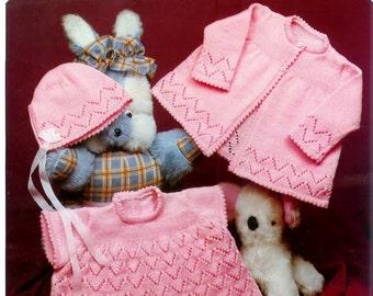 Baby  Machine Knitting Pattern Jarol M139 -  Matinee Jacket Bonnet  and Dress 16 to 20ins