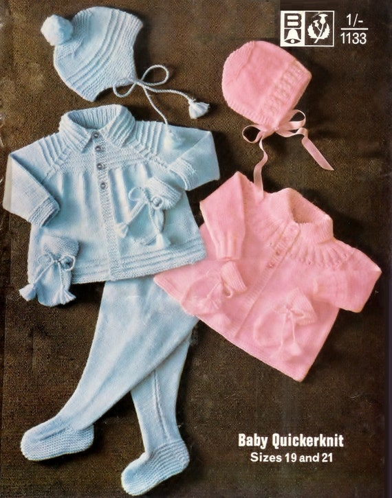 Baby QK Matinee Jackets leggings bonnet and mittens 19