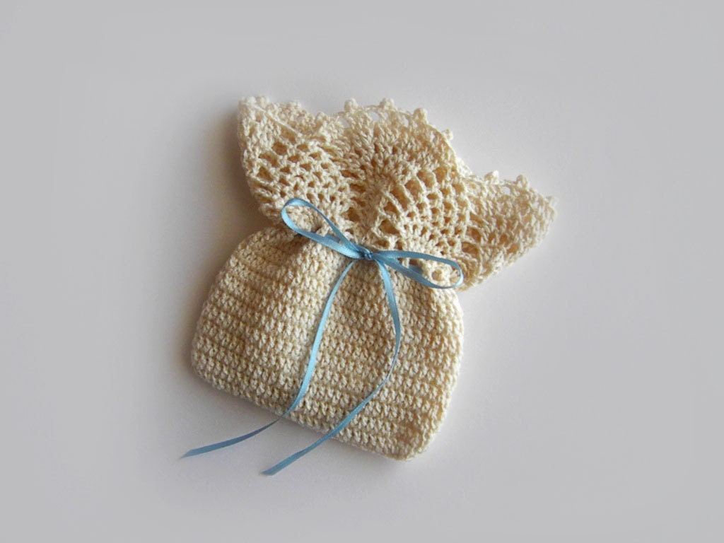 Crochet Lace Pouch / Cotton Gift Case / Weddings by KnittName