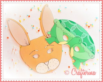 Tortoise and Hare Mask Set - Printable PDF- DIY Craft Kit - Party Favor- Child Toy - Play & Pretend