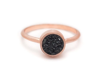 Druzy Ring - Black Druzy - 18k Rose Gold Vermeil - Bezel Set - Druzy - Available in sizes 4.5, 5, 5.5, 6, 6.5, 7, 7.5, 8, 8.5, 9 and 10
