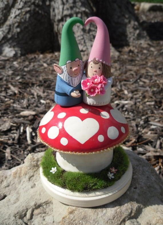 Woodland Garden Gnome Wedding Cake Topper Custom Cake Topper