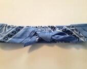 Retro Rockabilly Bandana Headband- Light Cornflower Blue Paisley